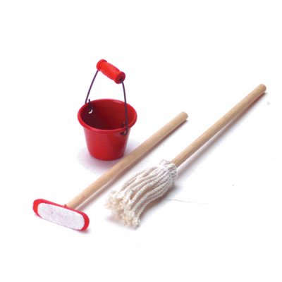 Mop, Duster Broom & Bucket Cleaning 3pc Set