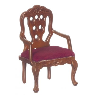 Carved Back Upholstered Armchair