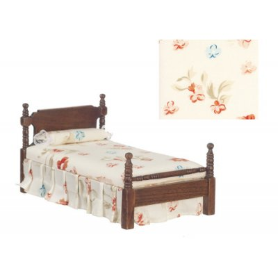 Floral Single Bed w/ Linens - Walnut