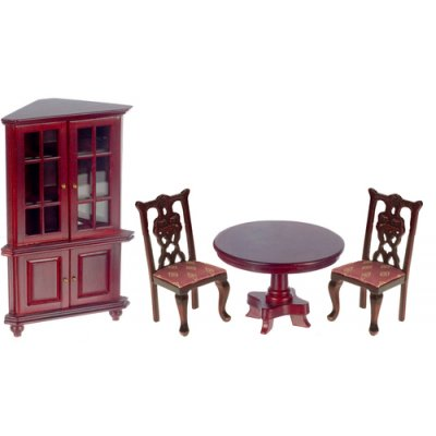 Dining Room Furniture Set 4pc Mahogany - Red Upholstery