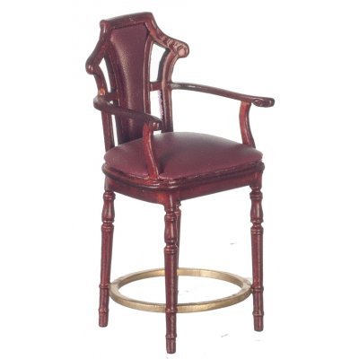 Bar Stool - Burgundy & Mahogany