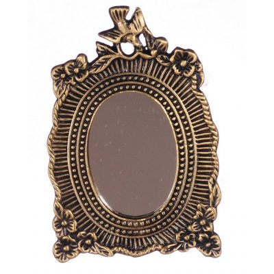 Antique Brass Floral Mirror