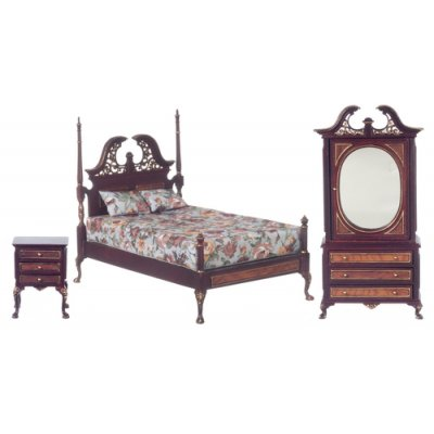 Harding Bedroom Set 3pc Mahogany w/ Hand Painted Detail
