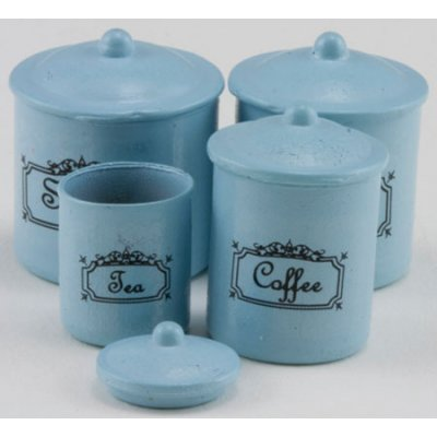 4pc Canister Set w/ Lids Blue