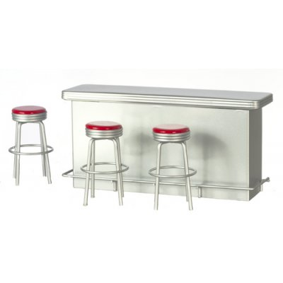1950s Serving Counter & 3 Stools - Red