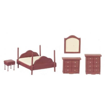 1/2in Scale Bedroom Set 5pc - Mahogany