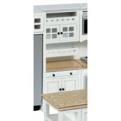 Kitchen Cabinet w/ Shelves - White & Faux Marble