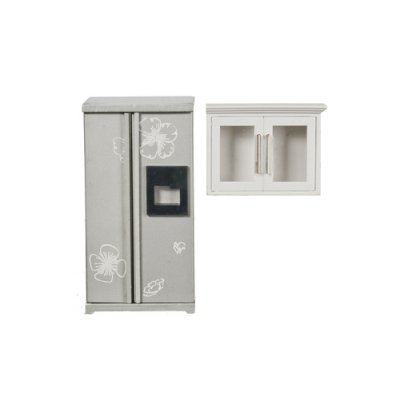 Kitchen Refrigerator & Cabinet Set - Silver & White