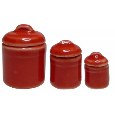 Red Canister Set w/ Lids 3 pieces