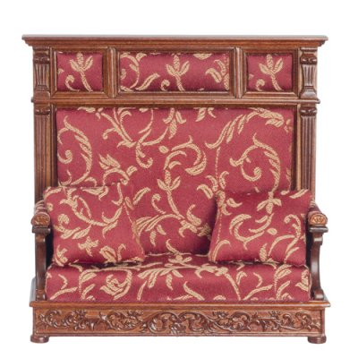 Tudor Hall Couch Red Pattern Upholstered - Walnut