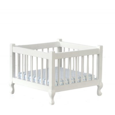 Wooden Playpen w/ Linens - White