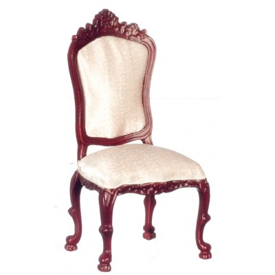 Mahogany Side Chair w/ Salmon Fabric