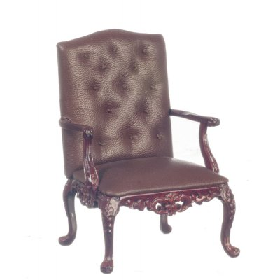 Brown Leather George VI Chair - Mahogany
