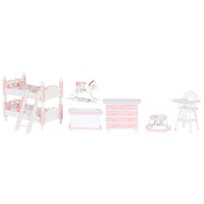 Pink & White Girls Bunk Bed  Bedroom Set - 7pc
