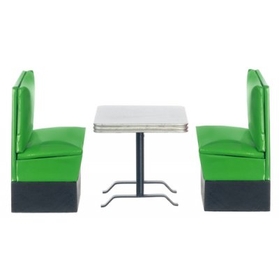1950s Booth Table Set - Green & Silver 3pc