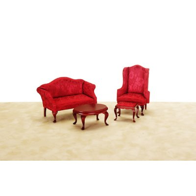 Queen Anne Small Living Room Set w/ Red Fabric - 4pc