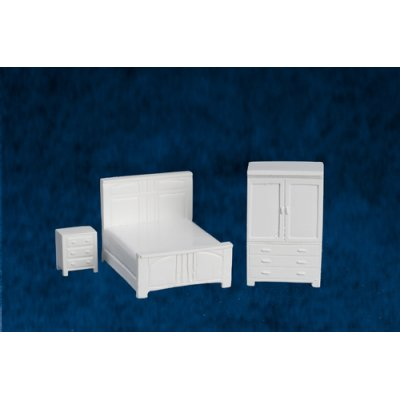 1/4in Scale Bedroom Set 3pc - White - Metal