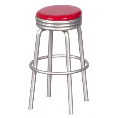 1950s Red & Silver Stool