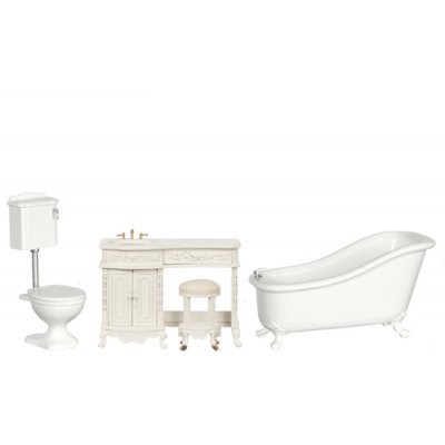 Avalon Victorian Bathroom Set - White - 3pc
