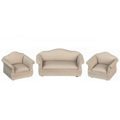 Living Room Furniture Set - Tan Fabric Upholstery - 3pc