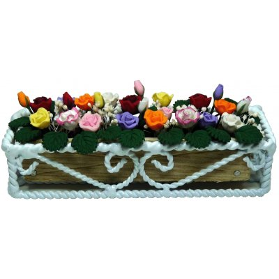 Assorted Roses in White Braided Iron Planter