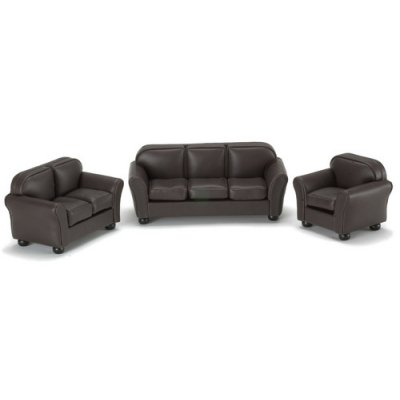 Brown Leather Living Room Set 3pc