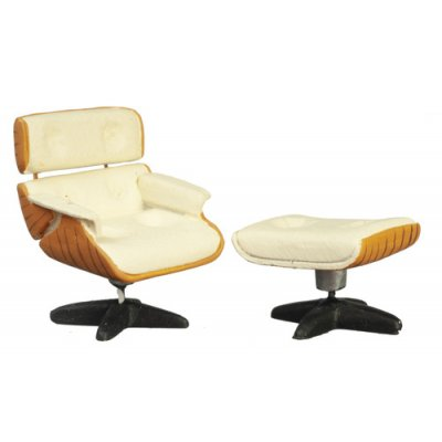 1/2in Scale Lounge Chair & Ottoman - Cream