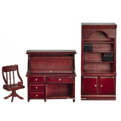 Study Furniture 3pc Rolltop Desk Set - Mahogany