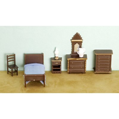 1/4in Scale Scale Bedroom Set Plastic 8pc