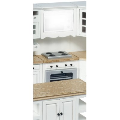 Kitchen Cabinet w/ Stove - White & Faux Marble