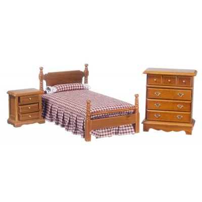 3pc Walnut & Burgundy Bedroom Set