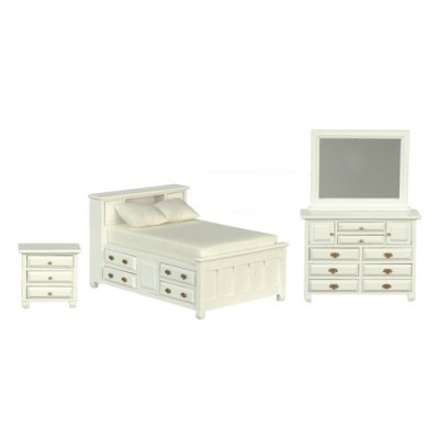 Double Bedroom Furniture Set - White - 3pc