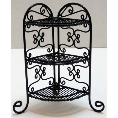 Black Wrought Iron Corner Plant Stand