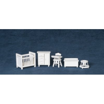 1/2in Scale Baby's Nursery Set - White - 5pc