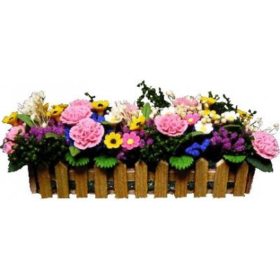 Pink Carnations in Picket Planter