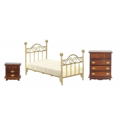 Single Brass Bedroom Set - 3pc