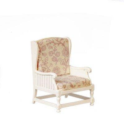 Armchair - White w/ Brown Floral Fabric