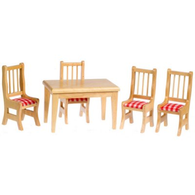 Oak Kitchen Table & Chairs - Red Gingham Fabric