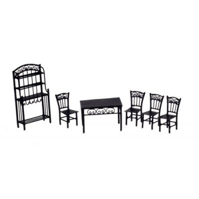 1/2in Scale Black Wire Kitchen or Dining Room Set 6pc