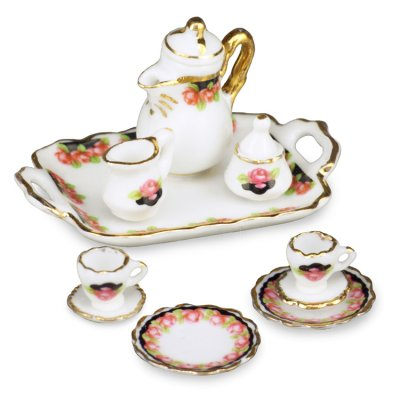 Black Rose Coffee Set w/ Tray Service for 2
