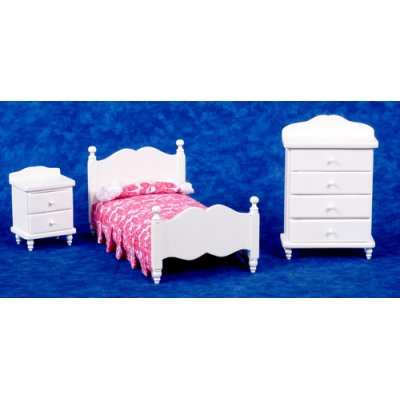 Single Bedroom Set w/ Pink Linens - White - 3pc