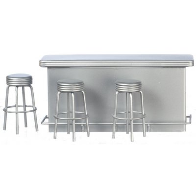 1950s Serving Counter & 3 Stools - Silver