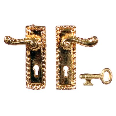 Fancy Victorian French Door Handles W/ Key 1pr   Rectangle Plate | Maryu0027s  Dollhouse Miniatures