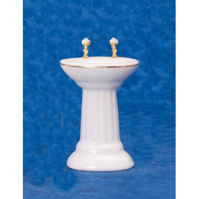 White Pedestal Sink w/ Gold Trim