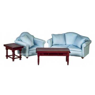 Living Room Furniture Set 4pc - Light Blue & Mahogany