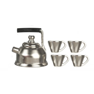 Pre-War Style Metal Tea Set 5pc
