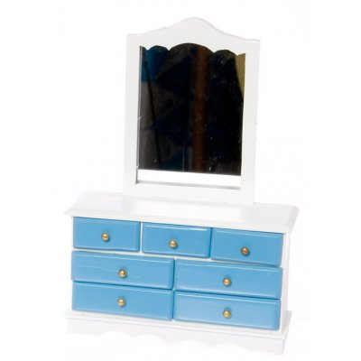 Blue & White Mirrored Dresser
