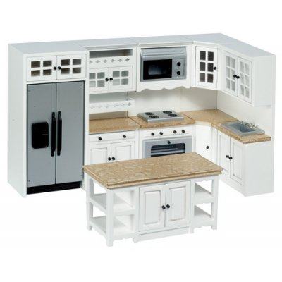 Kitchen set w ss appliances 8pc white faux marble for Fake kitchen set