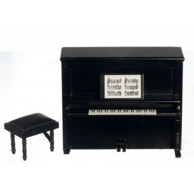 Upright Piano & Bench - Black