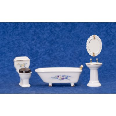 Bath Set w/ Flowers & Oval Mirror 4pc